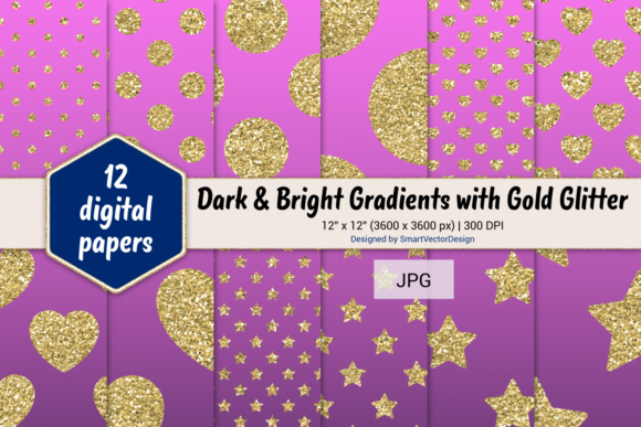Print on Demand: Polka Dot, Hearts, & Stars-Gradients #52 Graphic Backgrounds By SmartVectorDesign