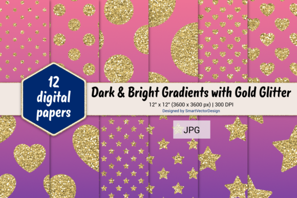 Print on Demand: Polka Dot, Hearts, & Stars-Gradients #53 Graphic Backgrounds By SmartVectorDesign