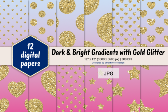 Print on Demand: Polka Dot, Hearts, & Stars-Gradients #54 Graphic Backgrounds By SmartVectorDesign