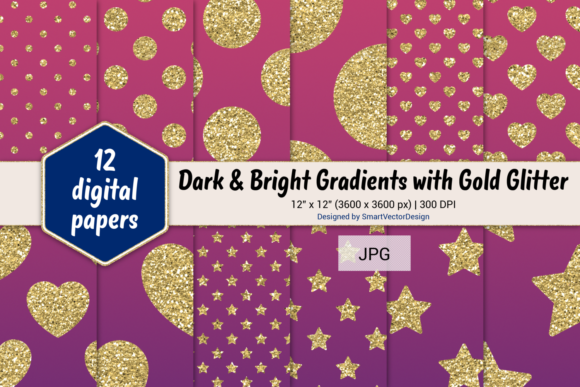 Print on Demand: Polka Dot, Hearts, & Stars-Gradients #55 Graphic Backgrounds By SmartVectorDesign