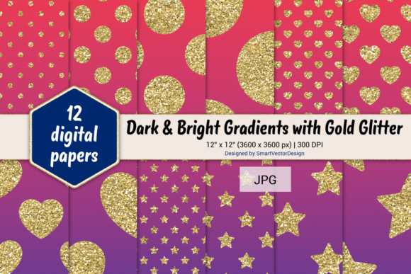 Print on Demand: Polka Dot, Hearts, & Stars-Gradients #56 Graphic Backgrounds By SmartVectorDesign