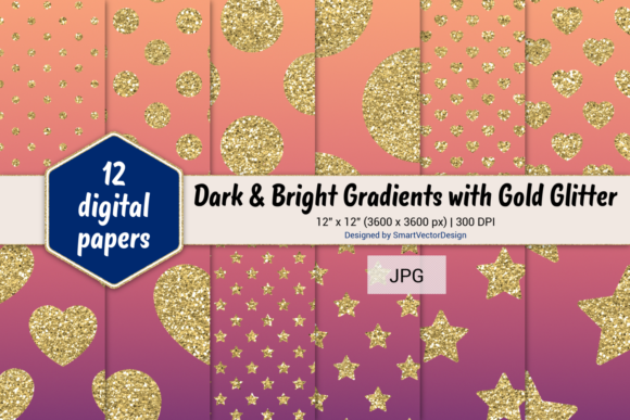 Print on Demand: Polka Dot, Hearts, & Stars-Gradients #59 Graphic Backgrounds By SmartVectorDesign