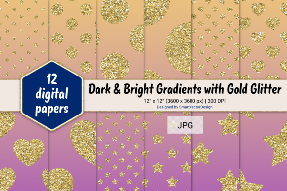 Print on Demand: Polka Dot, Hearts, & Stars-Gradients #60 Graphic Backgrounds By SmartVectorDesign