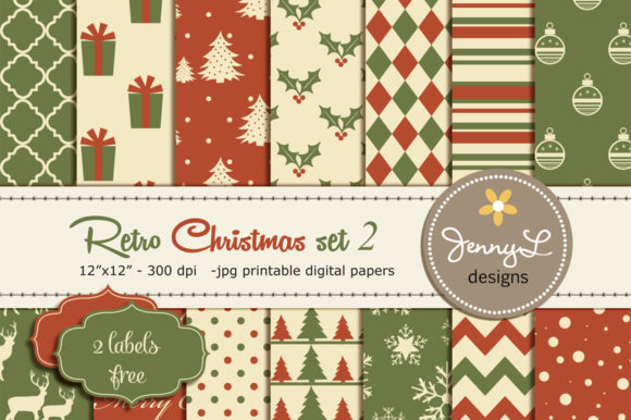 Retro Vintage Christmas Digital Papers Graphic Patterns By jennyL_designs