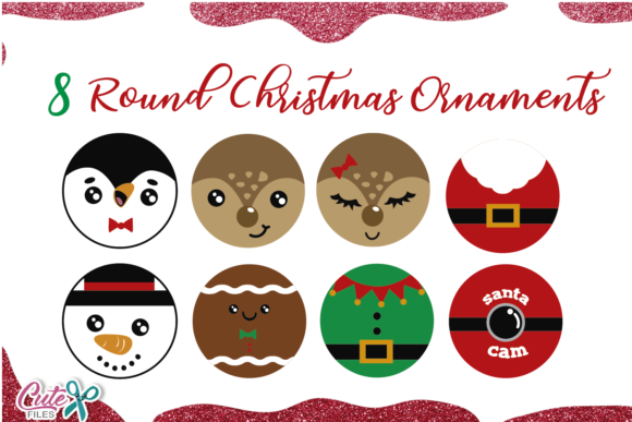 Round Christmas Ornament Graphic Download