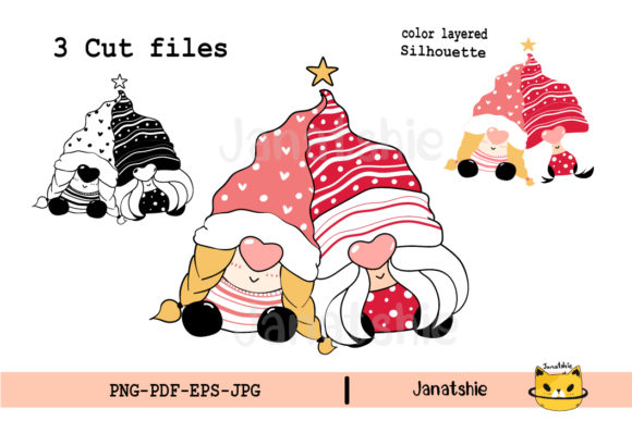 SVG Cute Gnome Couple in Love Christmas Graphic Illustrations By Janatshie