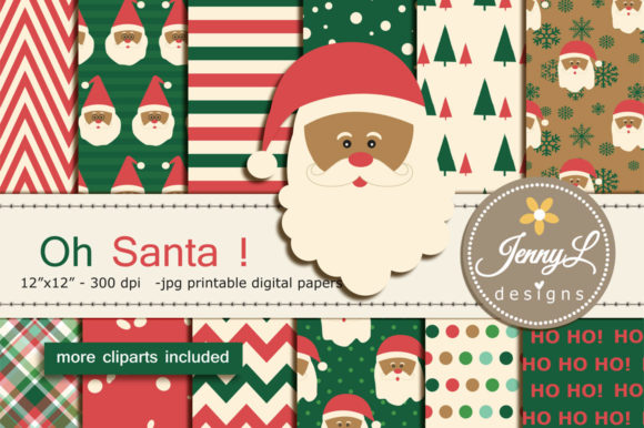 Santa Christmas Digital Paper Clipart Graphic Patterns By jennyL_designs
