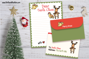 Santa Claus and Rudolph Doodle Letter Graphic Print Templates By Fontsandfashion