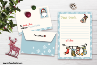 Santa Claus and Xmas Socks Doodle Letter Graphic Print Templates By Fontsandfashion