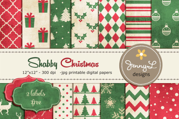 Shabby Christmas Digital Paper Clipart Graphic Patterns By jennyL_designs