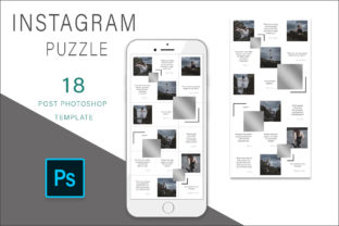 Print on Demand: Silver Instagram Puzzle Template Graphic Graphic Templates By AS Digitale