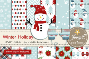 Snowman Winter Digital Papers Clipart Graphic Patterns By jennyL_designs