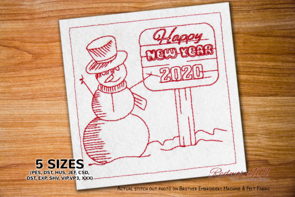 Snowman with New Year Sign Board Redwork Winter Embroidery Design By Redwork101