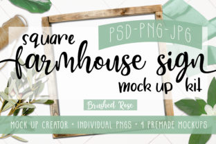 Square Sign Mock Up| Scene Creator Graphic Product Mockups By Brushed Rose