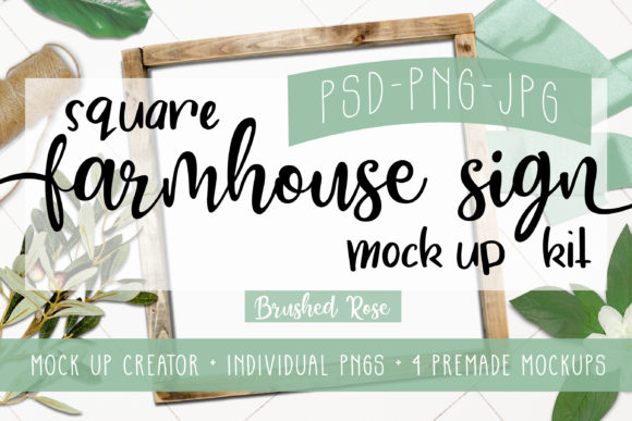 Square Sign Mock Up  Scene Creator Graphic Product Mockups By Brushed Rose