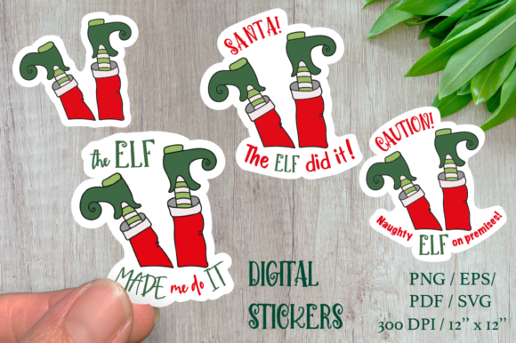 Stickers ELF with Sign. 4 Funny Sticker Graphic Illustrations By Createya Design
