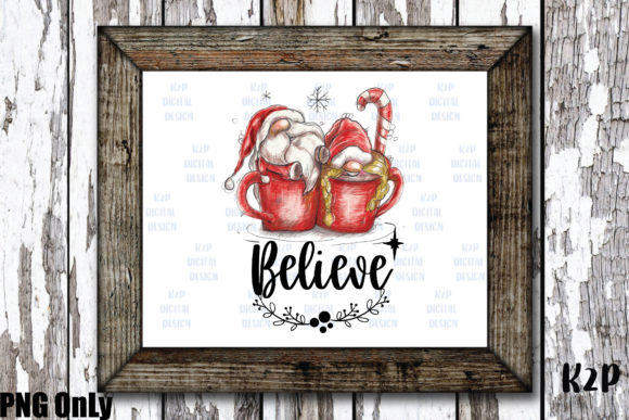 Print on Demand: Sublimation Christmas Gnome Believe PNG Graphic Illustrations By KtwoP