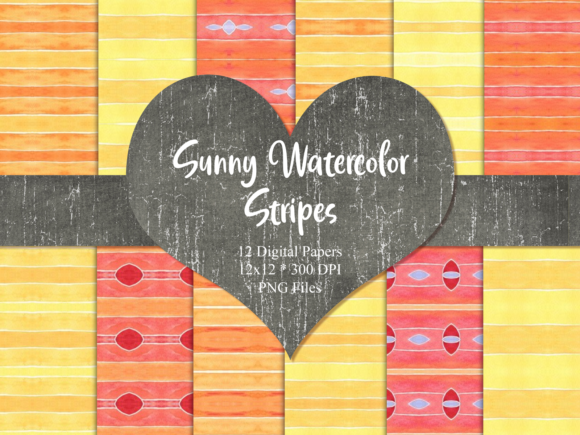 Print on Demand: Sunny Watercolor Stripes Graphic Patterns By Whiskey Black Designs