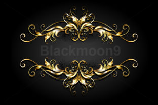 Symmetrical Gold Frame Scroll Graphic Illustrations By Blackmoon9