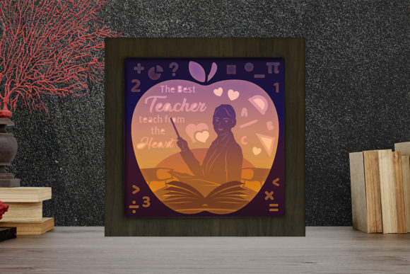 Print on Demand: Teacher Light Box Shadow Box Graphic 3D Shadow Box By LightBoxGoodMan
