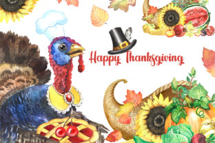 Thanksgiving Day Clipart.Turkey Graphic Illustrations By EvArtPrint