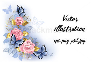 Three Pink Roses Graphic Illustrations By Blackmoon9