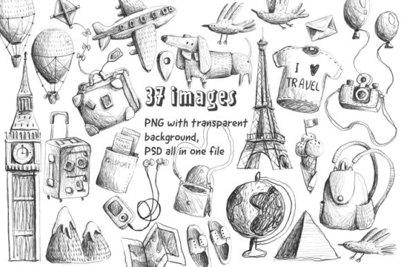 Print on Demand: Travel Sketches Clipart Graphic Illustrations By Architekt_AT