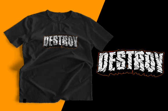 T-shirt Design - Destroy Graphic Print Templates By cithu09