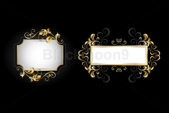 Two Small Golden Banners Graphic Illustrations By Blackmoon9