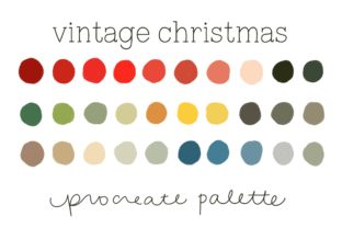 Vintage Christmas Procreate Palette Graphic Actions & Presets By One Twenty Studio