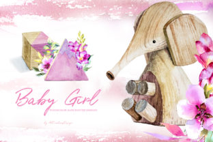 Watercolor Baby Girl Design Set Graphic Illustrations By artcreationsdesign