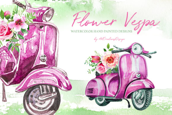 Watercolor Flower Vespa Designs Set Graphic Illustrations By artcreationsdesign