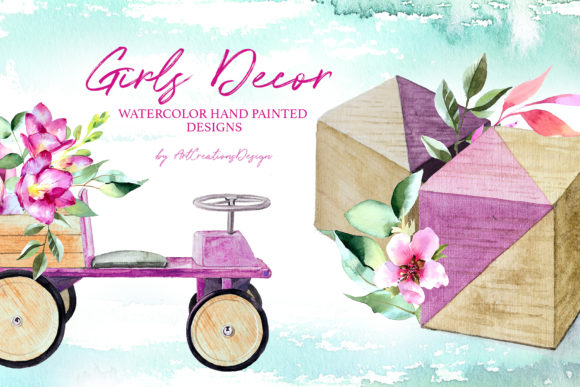 Watercolor Girls Decor Design Set Graphic Illustrations By artcreationsdesign