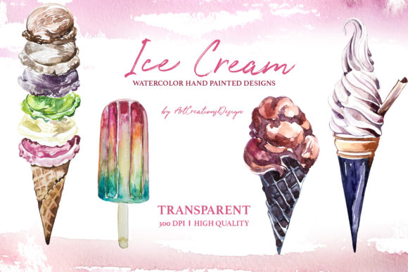 Watercolor Ice Cream Design Set Graphic Illustrations By artcreationsdesign