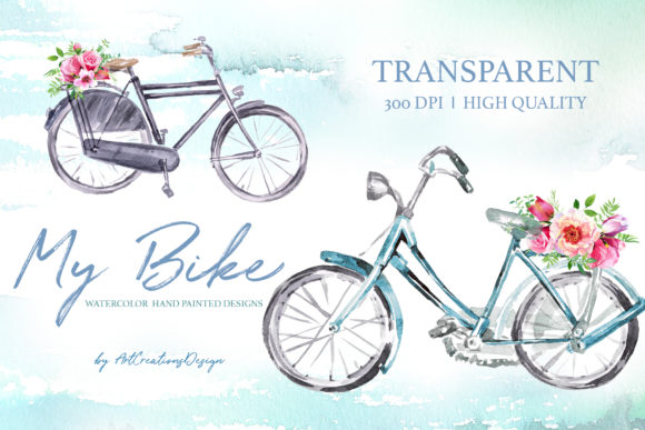 Watercolor My Bike Design Set Graphic Illustrations By artcreationsdesign