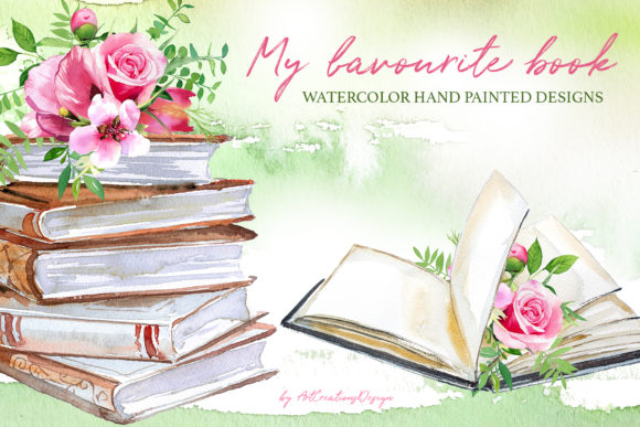 Watercolor My Favorite Book Design Set Graphic Illustrations By artcreationsdesign