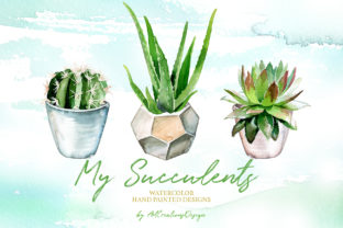Watercolor My Succulents Design Set Graphic Illustrations By artcreationsdesign