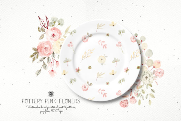 Print on Demand: Watercolor Pottery Pink Flowers Set Graphic Illustrations By webvilla