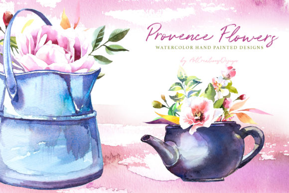 Watercolor Provence Flowers Design Set Graphic Illustrations By artcreationsdesign