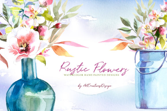 Watercolor Rustic Flowers Design Set Graphic Illustrations By artcreationsdesign