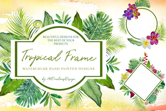Watercolor Tropical Frame Design Set Graphic Illustrations By artcreationsdesign