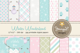 Winter Digital Papers Clipart Graphic Patterns By jennyL_designs