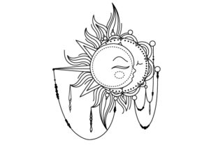 Sun and Moon Designs & Drawings Craft Cut File By Creative Fabrica Crafts