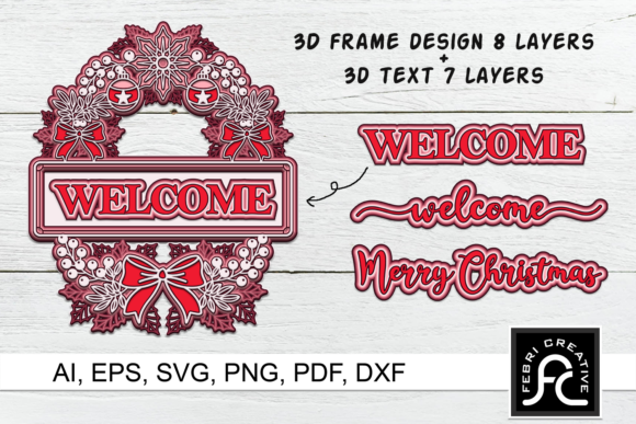 Print on Demand: 3d Layered Christmas SVG Frames Graphic 3D SVG By Febri Creative