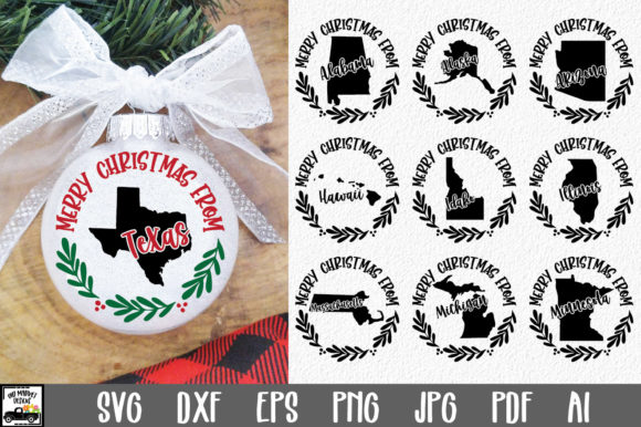 50 States Christmas Ornament Graphic