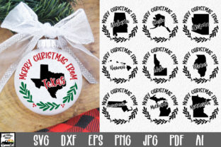 Print on Demand: 50 States Christmas Ornament Graphic Crafts By oldmarketdesigns