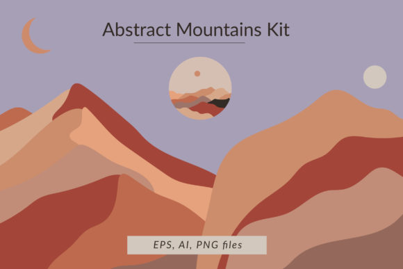 Print on Demand: Abstract Mountains Kit Graphic Illustrations By northseastudio
