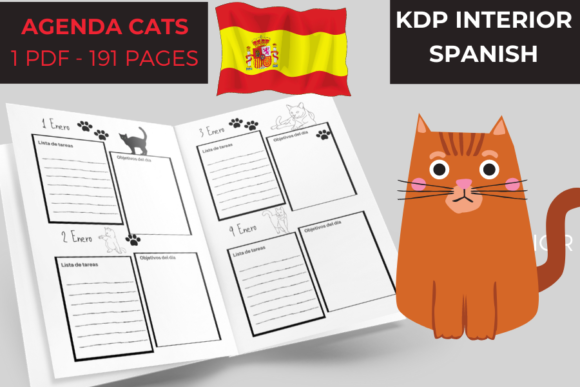 Agenda Cats | Spanish Version 191 Pages Graphic KDP Interiors By Piqui Designs