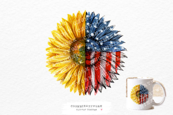 American Flag Sunflower Graphic Crafts By Chonnieartwork