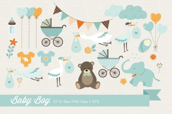 Baby Boy Clipart Vector Graphic Illustrations By peachycottoncandy